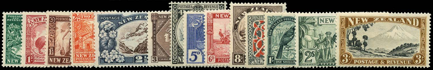NEW ZEALAND 1936  SG577/90c Mint multiple watermark set of 14 unmounted