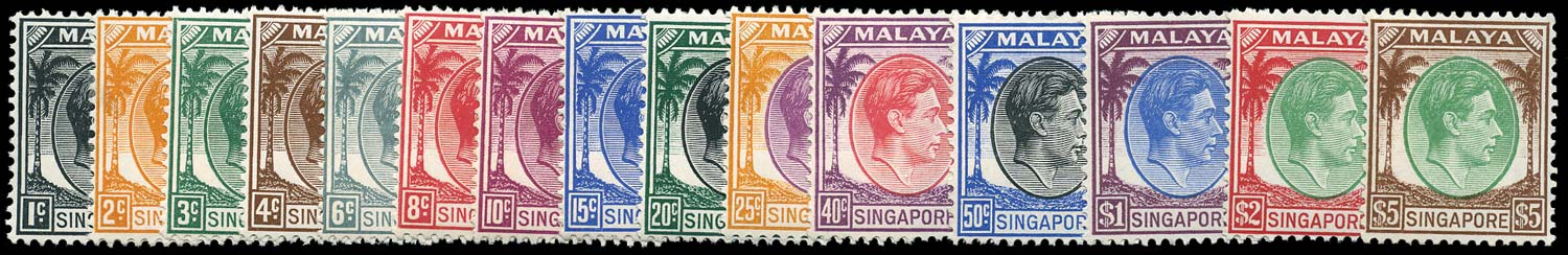 SINGAPORE 1948  SG1/15 Mint KGVI perf 14 set of 15 to $5 unmounted