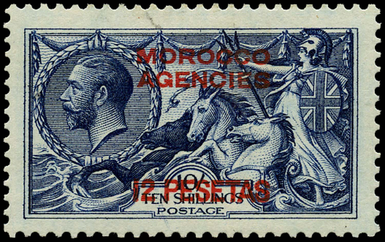 MOROCCO AGENCIES 1914  SG138 Mint 12p on 10s indigo-blue unmounted
