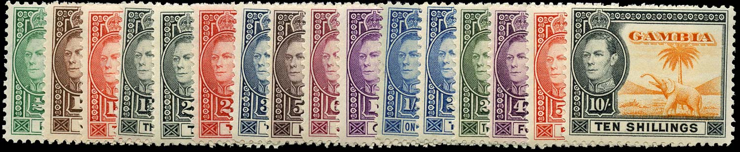 GAMBIA 1938  SG150/61 Mint set of 16 to 10s unmounted
