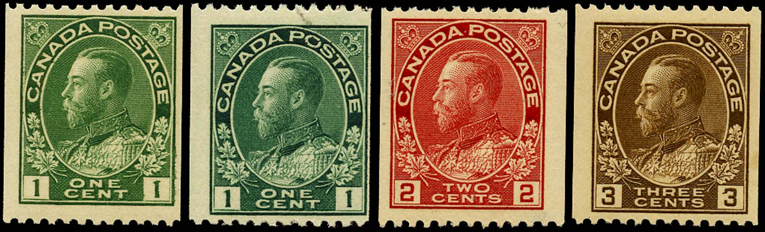 CANADA 1912  SG216/8a Mint set of 4 coil stamps perf 12 x imperf unmounted