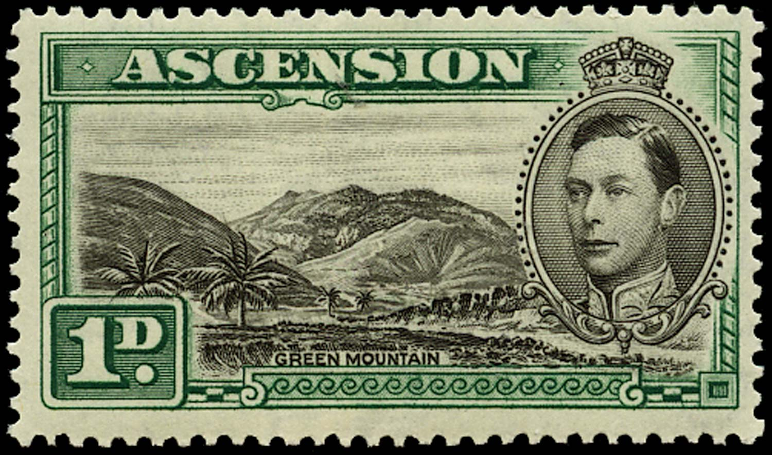 ASCENSION 1938  SG39 Mint 1d black and green unmounted