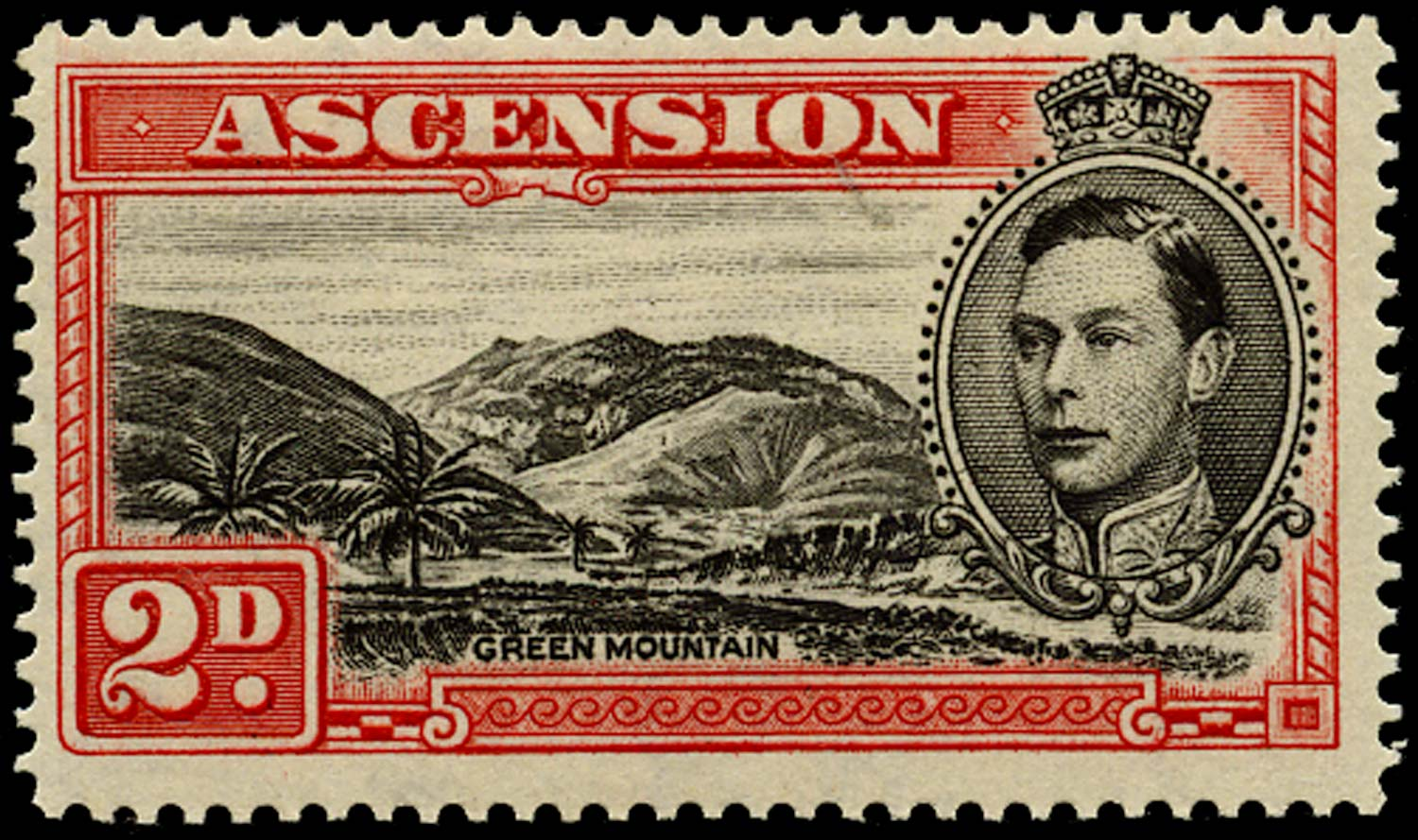 ASCENSION 1938  SG41ca Mint 2d perf 14 Mountaineer flaw unmounted