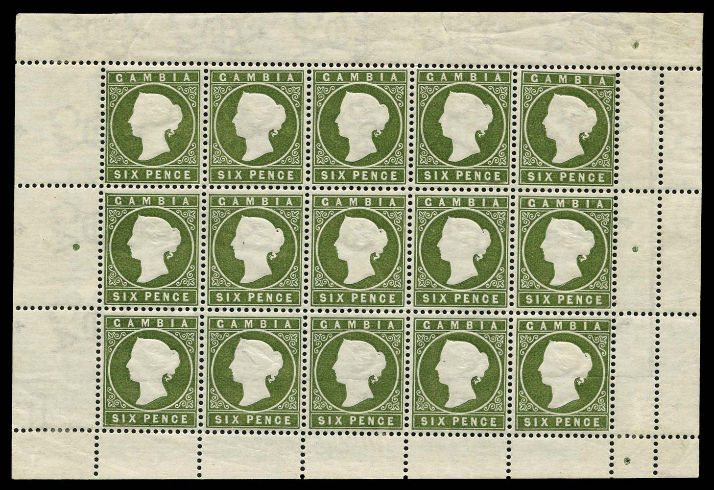 GAMBIA 1886  SG33/a Mint Complete sheet with Sloping Label variety