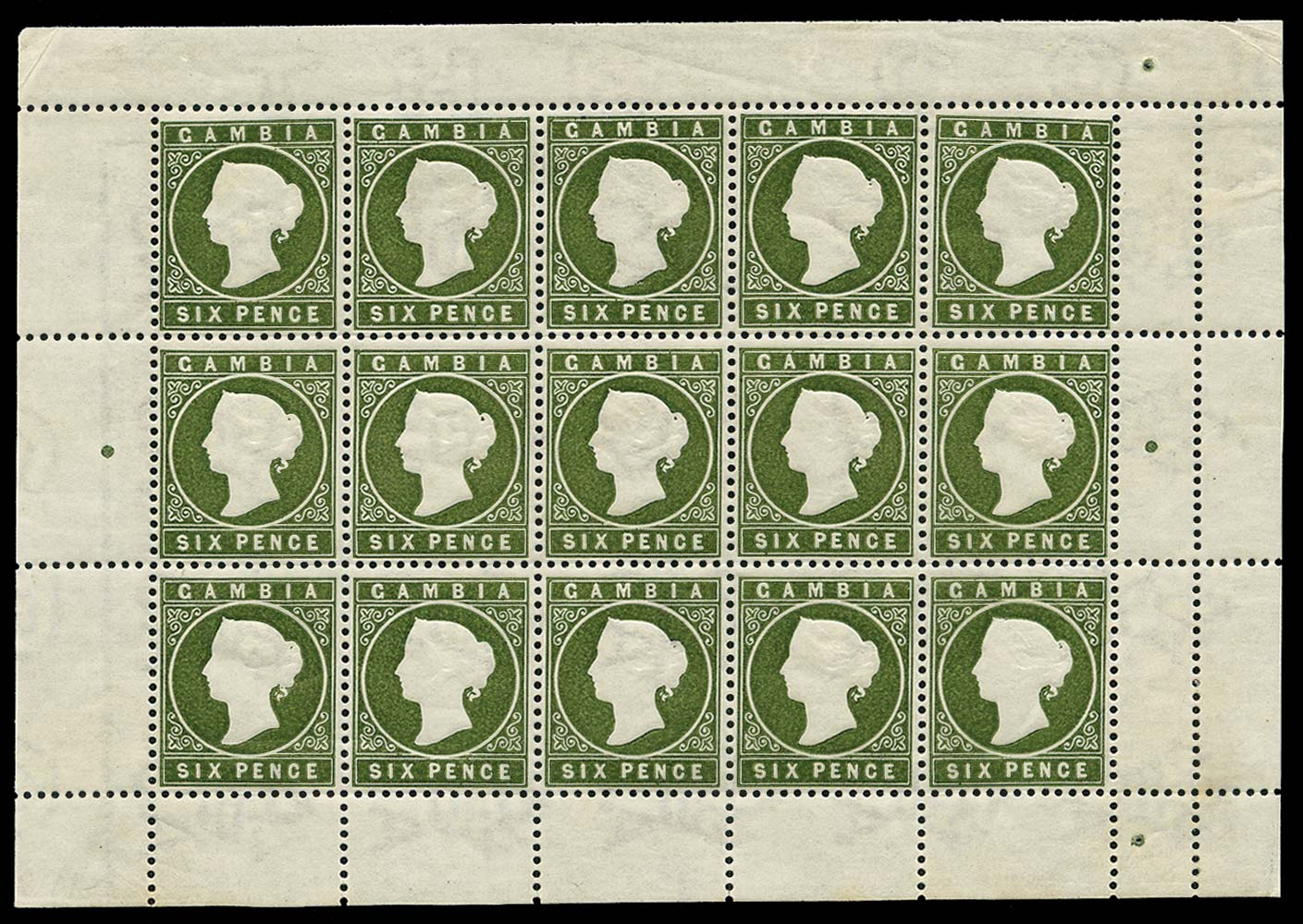 GAMBIA 1886  SG33c/ca Mint Complete sheet with Sloping Label variety