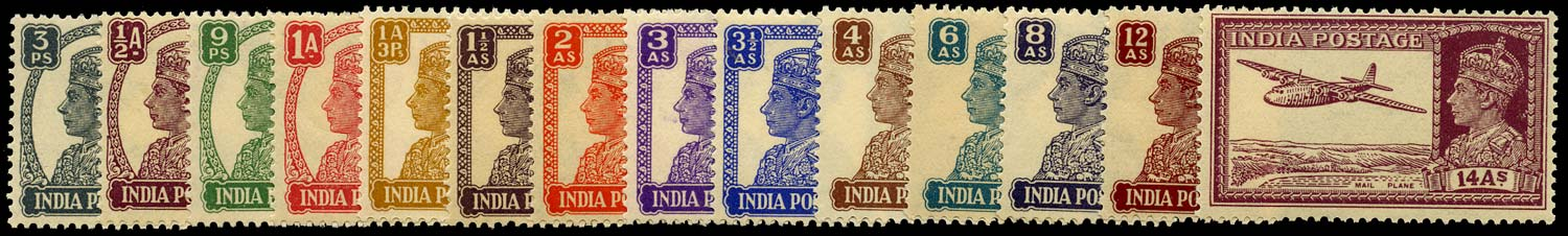 INDIA 1940  SG265/77 Mint New designs set of 14 to 14a unmounted