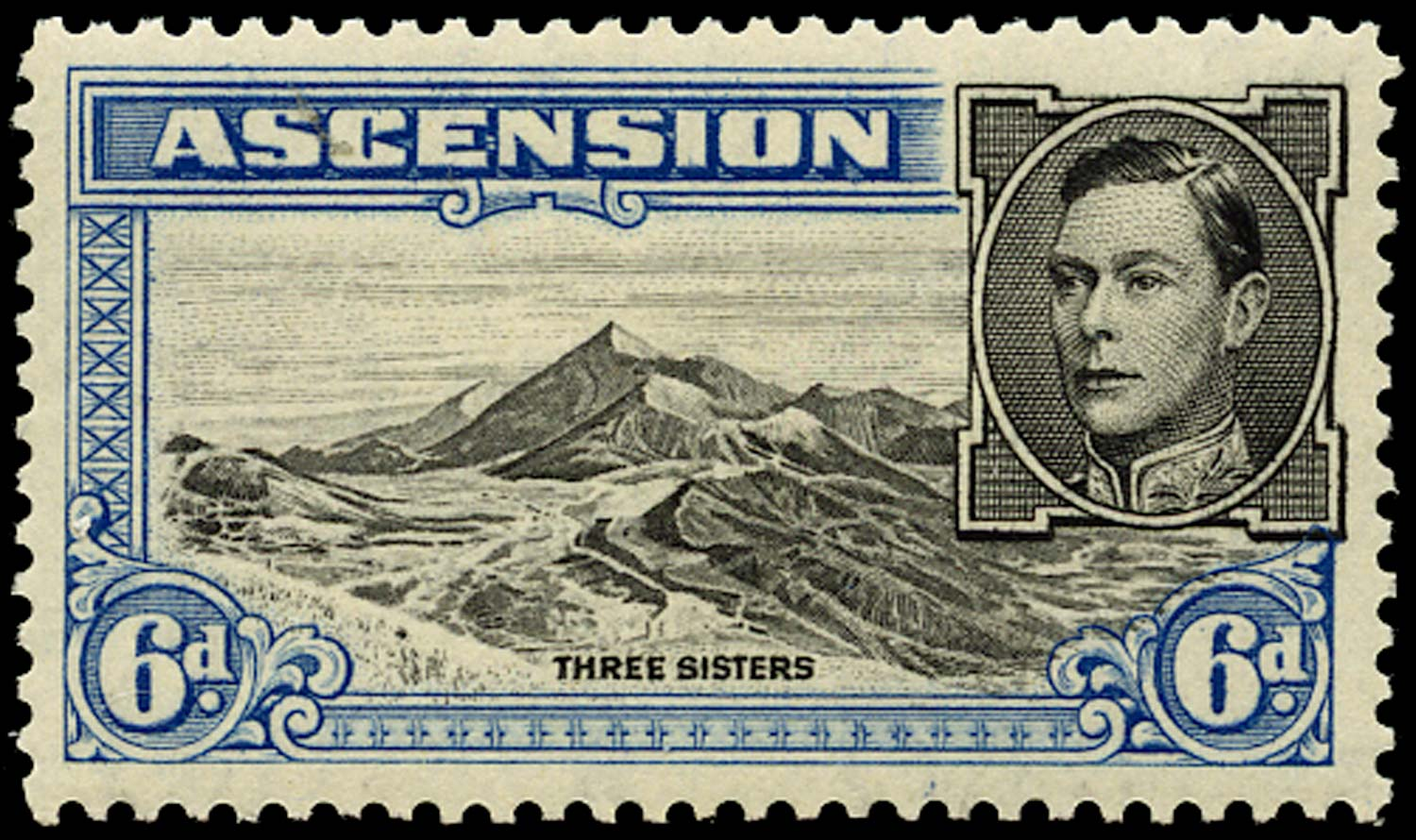ASCENSION 1938-53  SG43ba Mint 6d black and blue perf 13 Boulder flaw