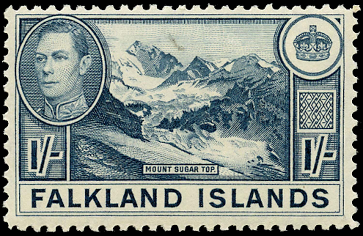 FALKLAND ISLANDS 1938  SG158a Mint 1s dull greenish blue unmounted