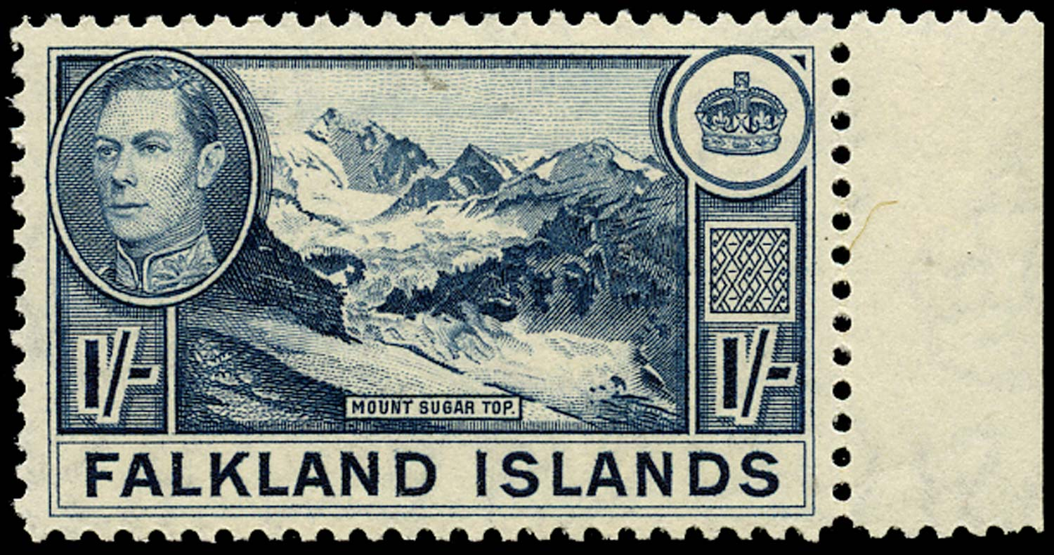FALKLAND ISLANDS 1938  SG158c Mint 1s deep dull blue on thin paper unmounted
