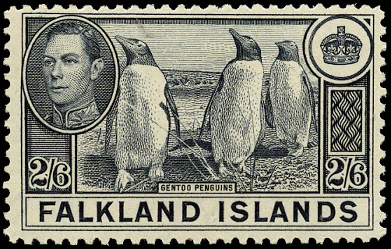 FALKLAND ISLANDS 1938  SG160 var Mint 2s6d Gentoo Penguins on greyish paper