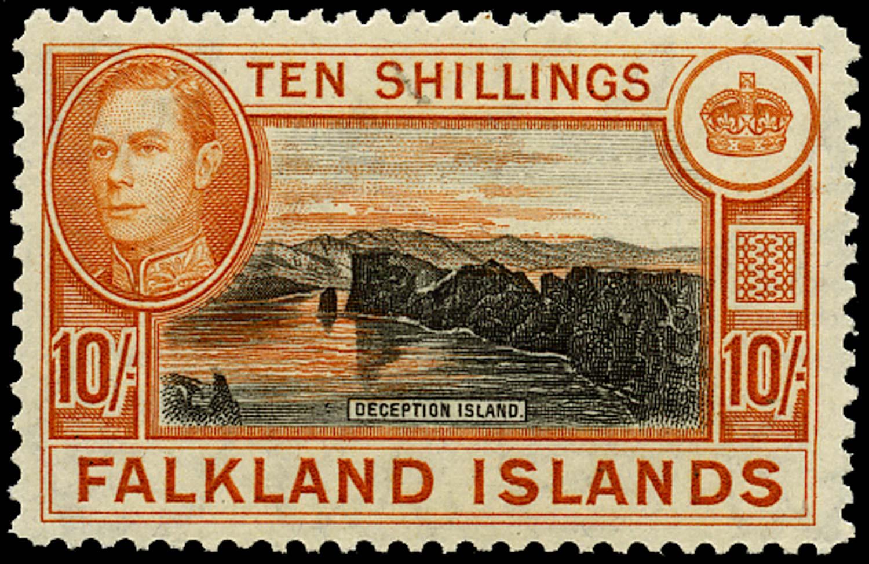 FALKLAND ISLANDS 1938  SG162b Mint 10s black and red-orange on greyish paper