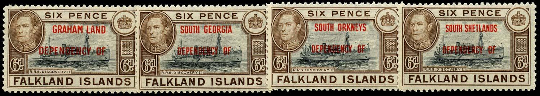 FALKLAND ISLAND DEPS 1944  SGA6a/D6a Mint 6d Discover with blue-black vignette