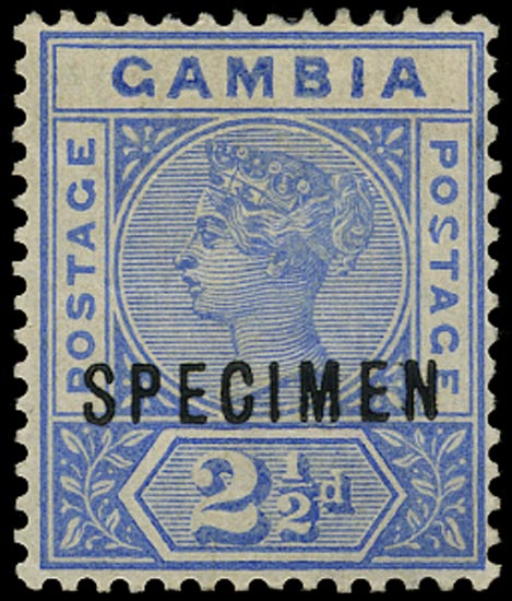 GAMBIA 1898  SG40as Specimen variety Malformed