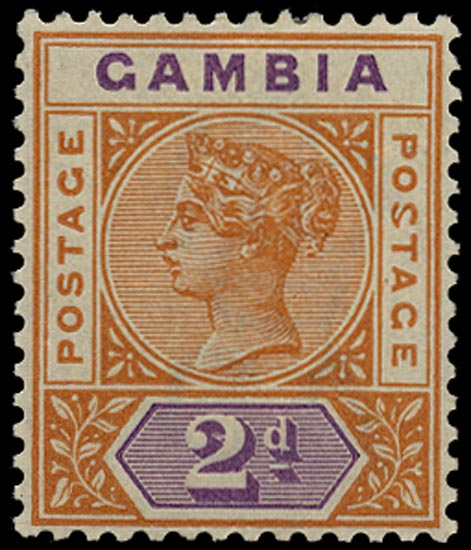 GAMBIA 1898  SG39a Mint variety Malformed