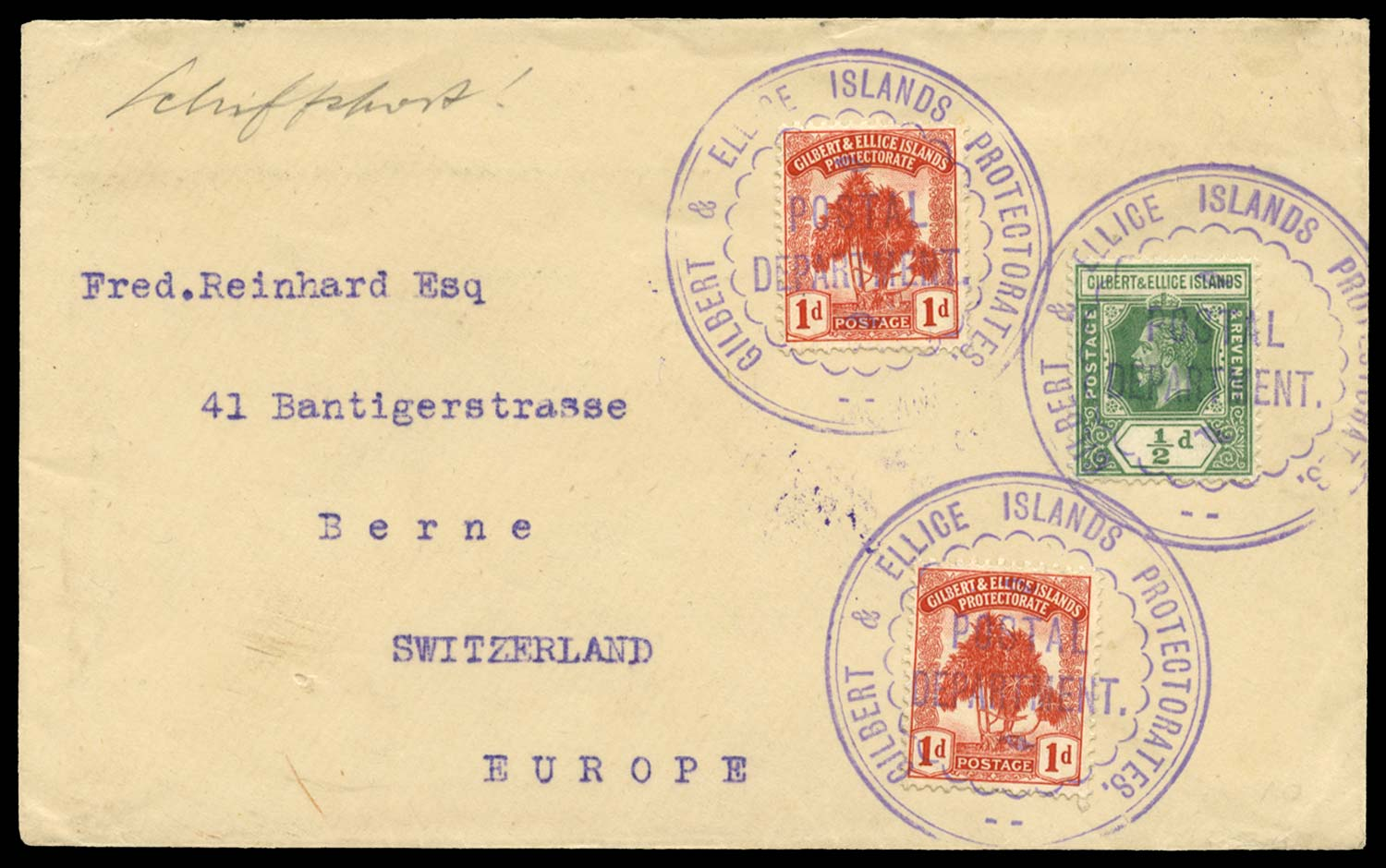 GILBERT & ELLICE IS 1912  SG9, 12 Cover