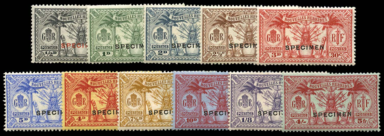 NEW HEBRIDES 1925  SGF42s/52s Specimen