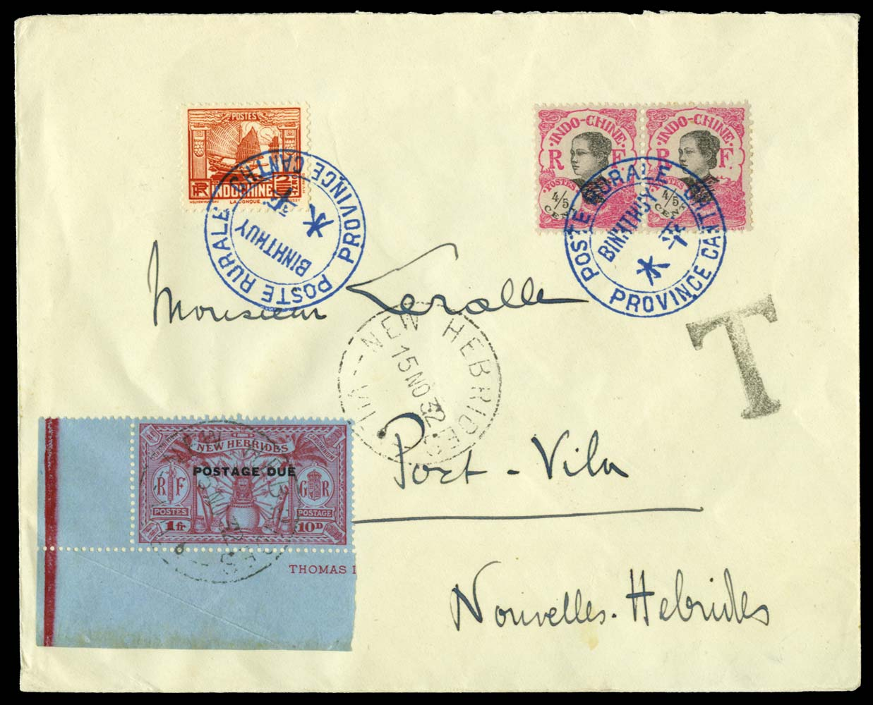 NEW HEBRIDES 1932  SGD5 Cover