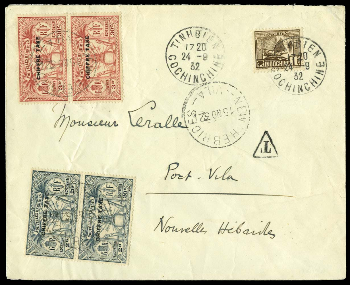 NEW HEBRIDES 1932  SGFD54/5 Cover
