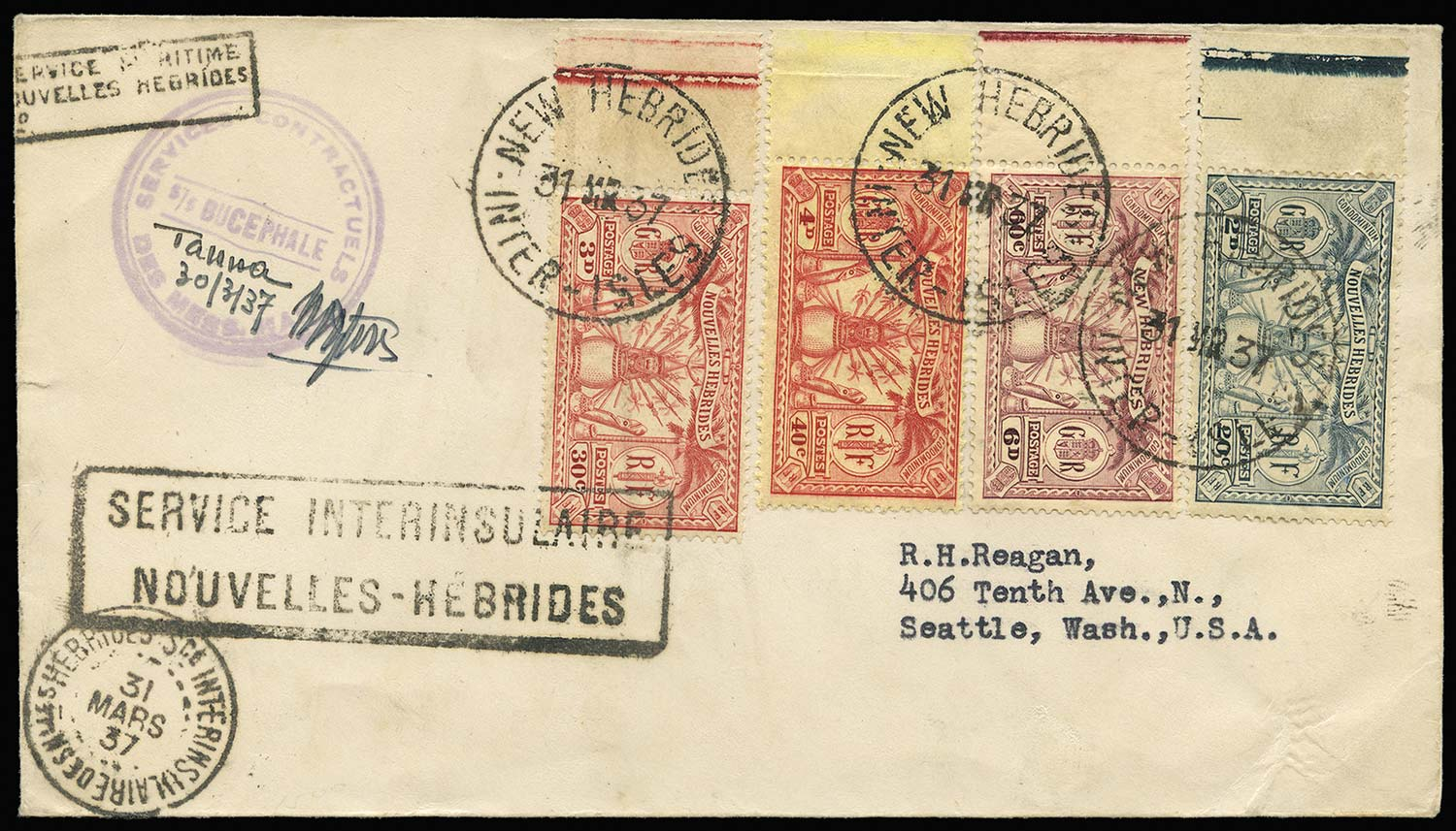 NEW HEBRIDES 1937  SG48, F44, F46/7 Cover