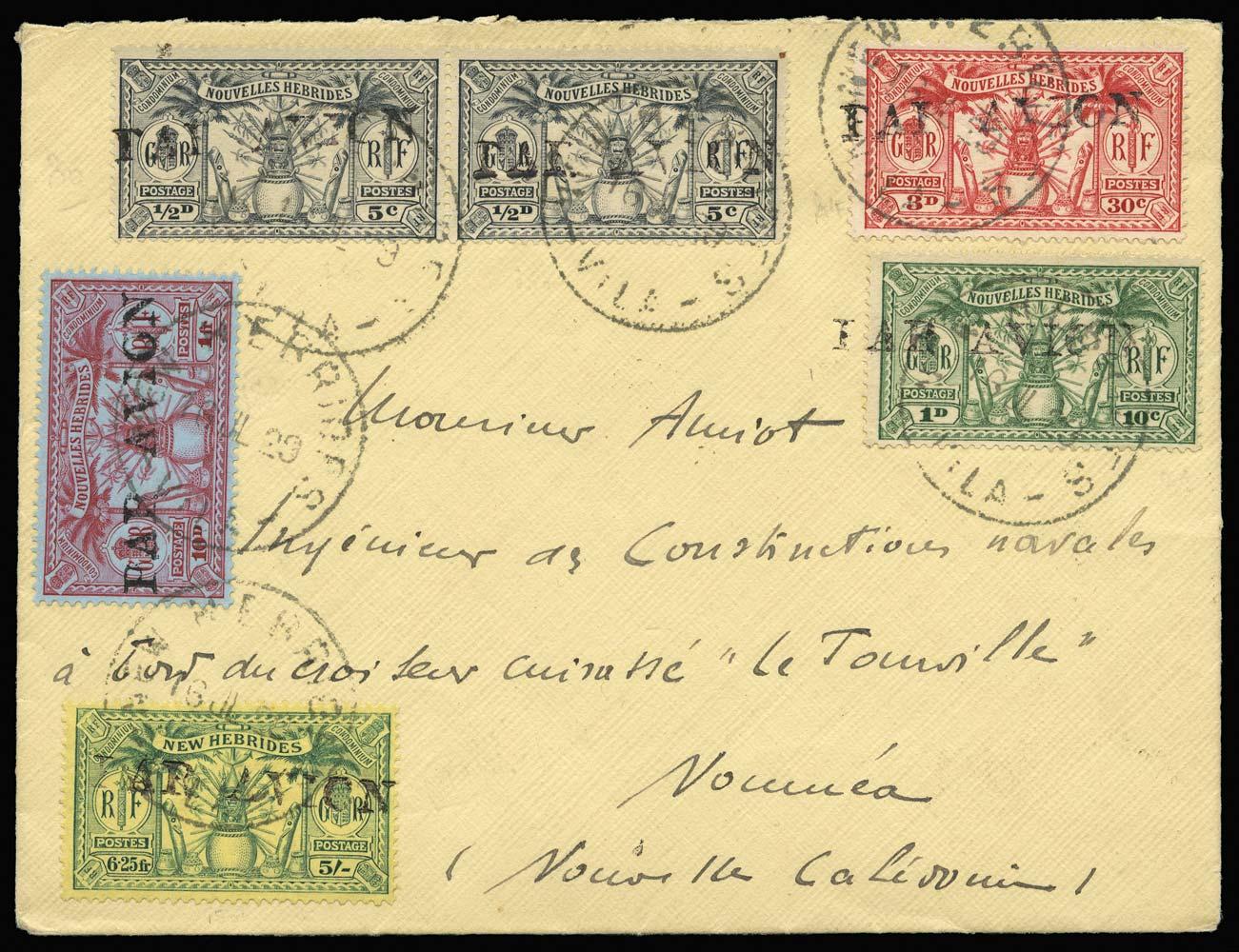 NEW HEBRIDES 1929  SG51, F42/3, F46, F50 Cover