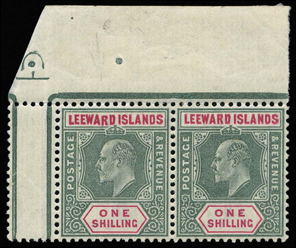 LEEWARD ISLANDS 1902  SG26/a Mint Dropped