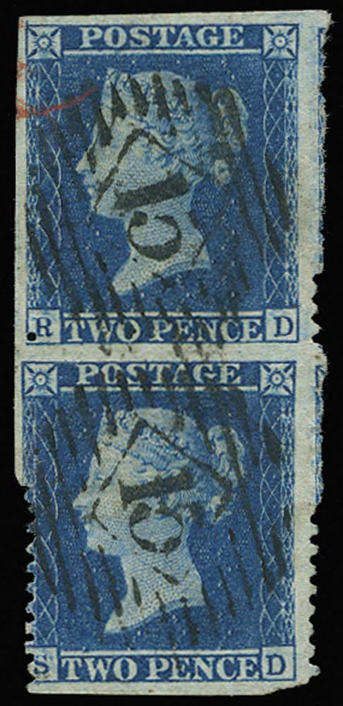 GB 1857  SG35b Pl.6 Used imperforate between vertical pair