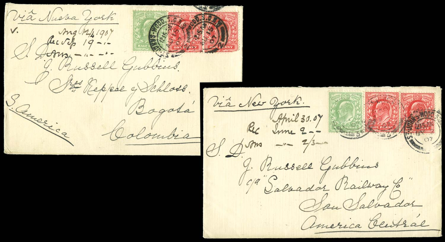 GB 1907  SG218,219 Cover