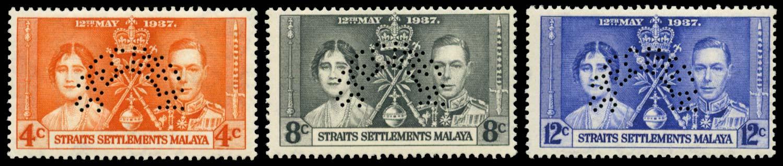 MALAYA - STRAITS 1937  SG275s/7s Specimen