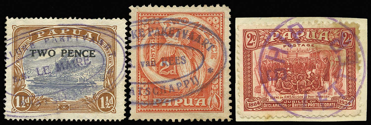 PAPUA 1931  SG122, 133, 147 Cancel