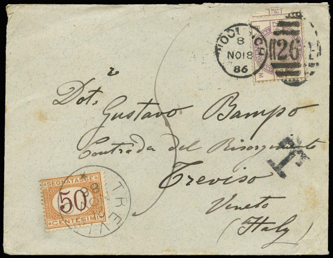GB 1886  SG190 Cover Woolwich to Treviso, Italy