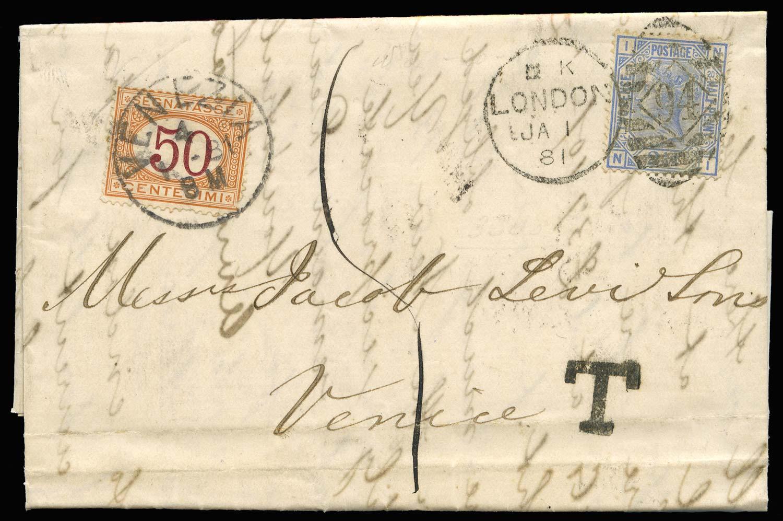 GB 1881  SG142 Cover London to Venezia