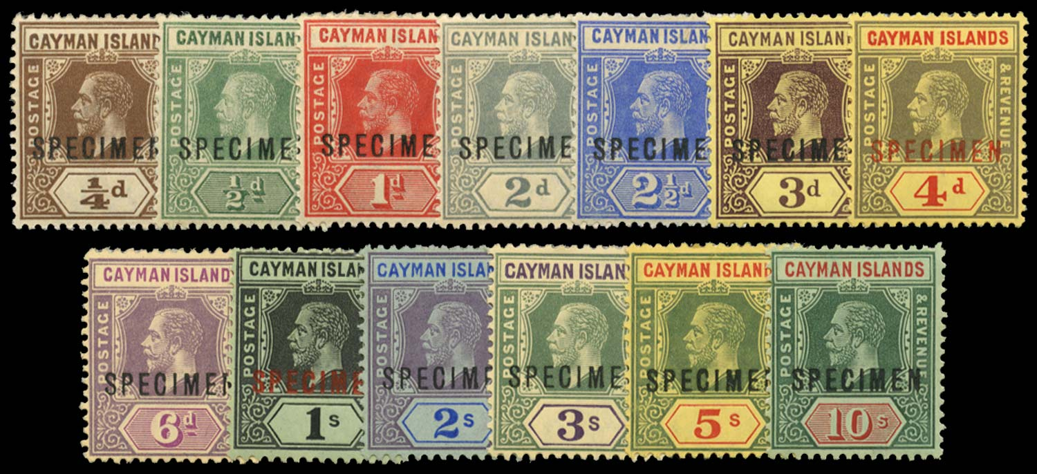 CAYMAN ISLANDS 1912  SG40s/52bs Specimen