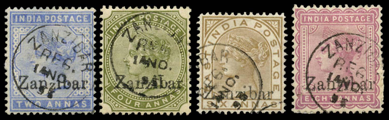 ZANZIBAR 1895  SG6D, 11E, 13D, 14D Cancel