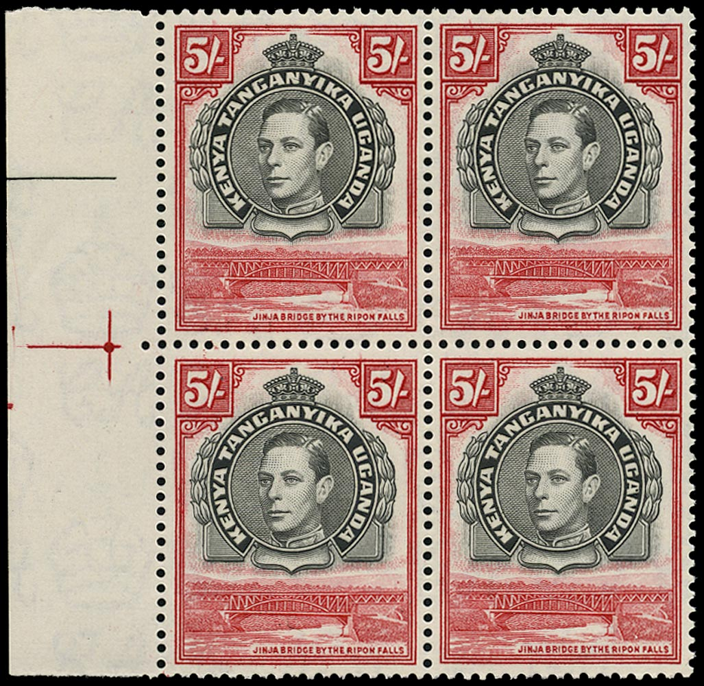KUT 1944  SG148b Mint 5s black and carmine perf 13¼x13¾ unmounted