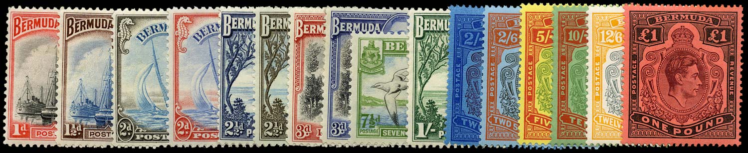 BERMUDA 1938  SG110/21c Mint KGVI set of 16 to £1