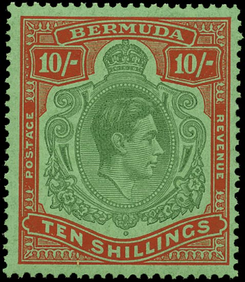 BERMUDA 1946  SG119d Mint 10s deep green and dull red ordinary paper