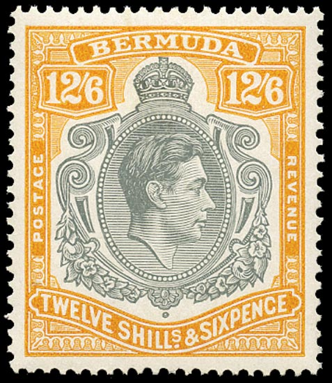 BERMUDA 1944  SG120c Mint 12s6d grey and pale orange ordinary paper