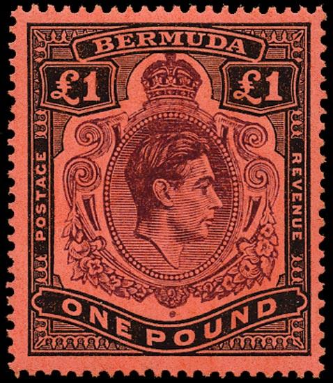 BERMUDA 1943  SG121c Mint £1 deep reddish purple and black unmounted