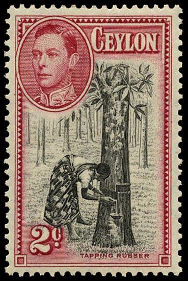 CEYLON 1938  SG386a Mint 2c black and carmine perf 13½x13