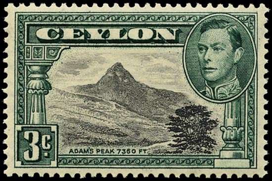 CEYLON 1938  SG387a Mint 3c black and deep blue-green perf 13x13½
