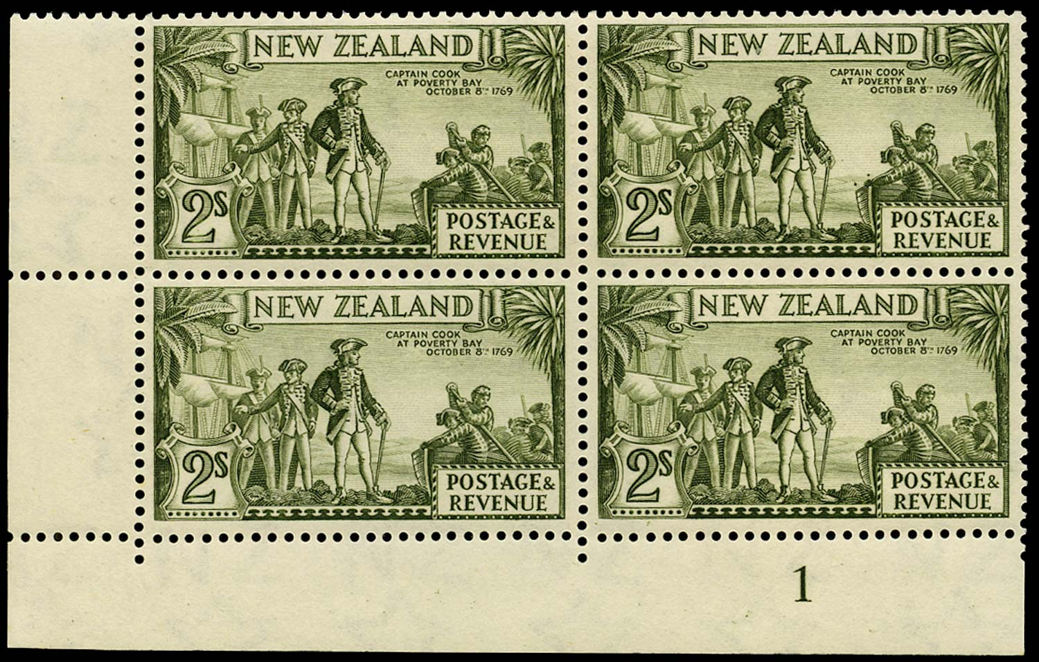 NEW ZEALAND 1939  SG589c Mint 2s olive-green perf 13½x14 watermark 98