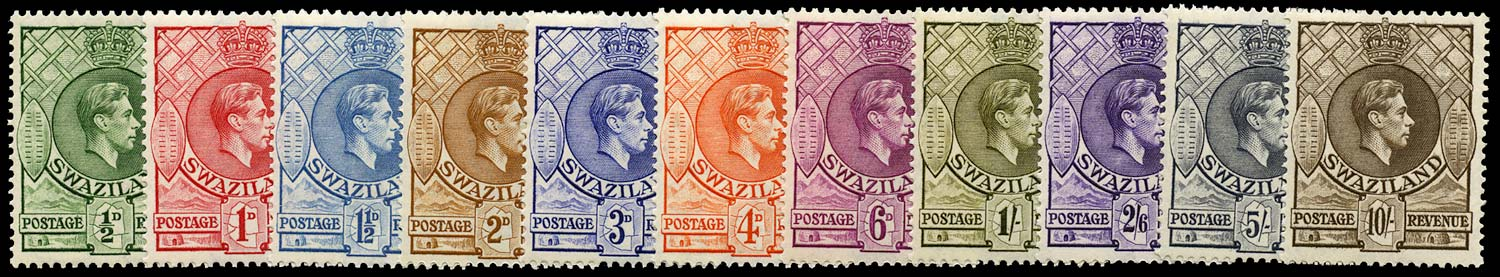 SWAZILAND 1938  SG28a/38a Mint KGVI set of 11 to 10s