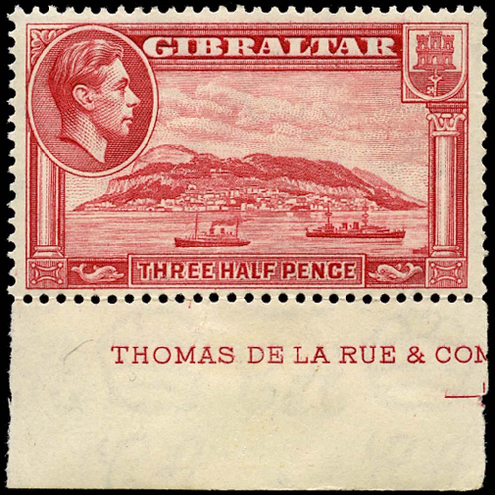 GIBRALTAR 1938  SG123a Mint 1½d carmine perf 13½ unmounted
