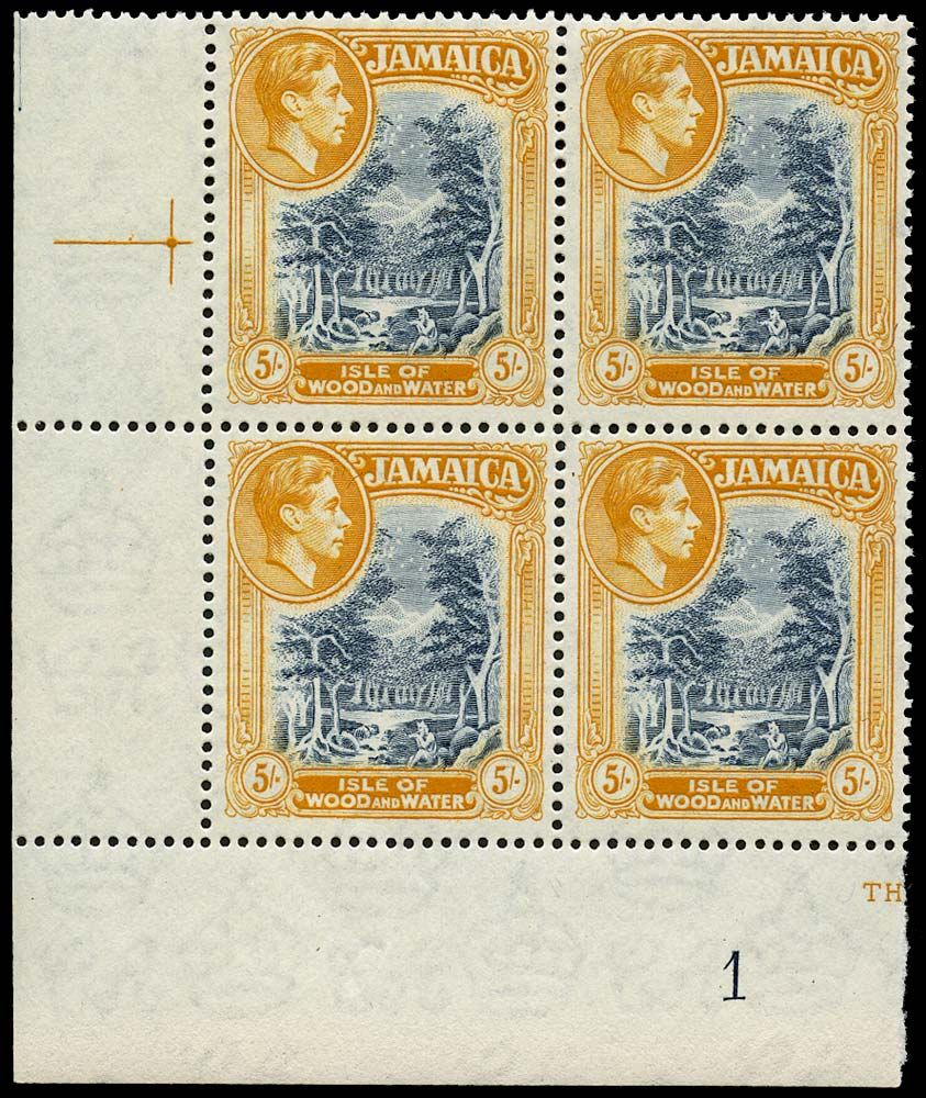 JAMAICA 1950  SG132b Mint 5s slate-blue and yellow-orange perf 13