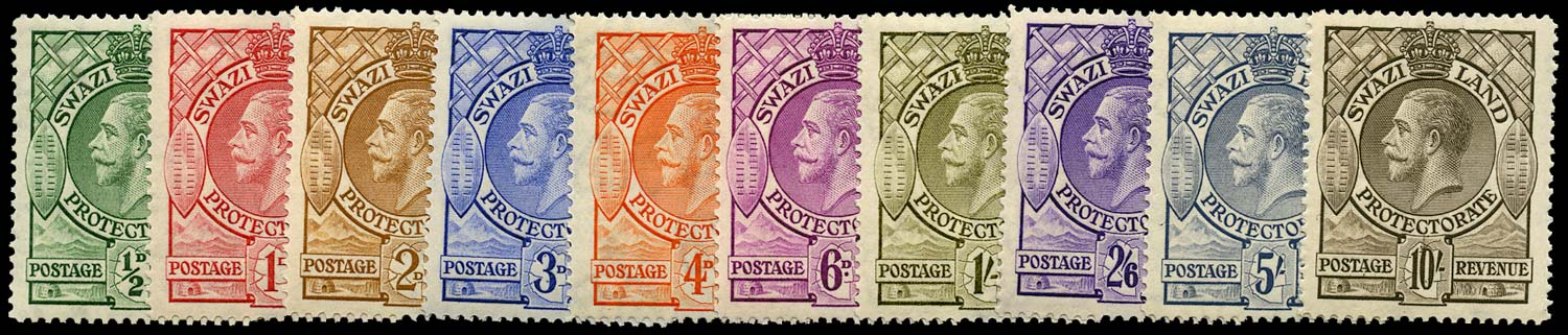 SWAZILAND 1933  SG11/20 Mint KGV set of 10 to 10s unmounted