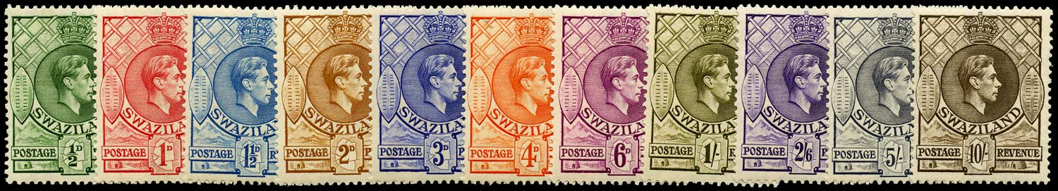 SWAZILAND 1938  SG28/38 Mint original perf 13½x13 set of 11 unmounted
