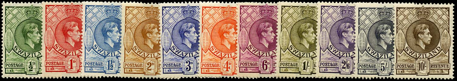 SWAZILAND 1938  SG28a/38a Mint set of 11 to 10s unmounted