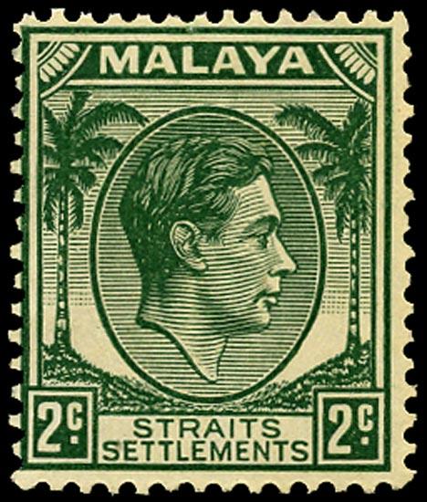 MALAYA - STRAITS 1938  SG293 Mint 2c green Die II unmounted