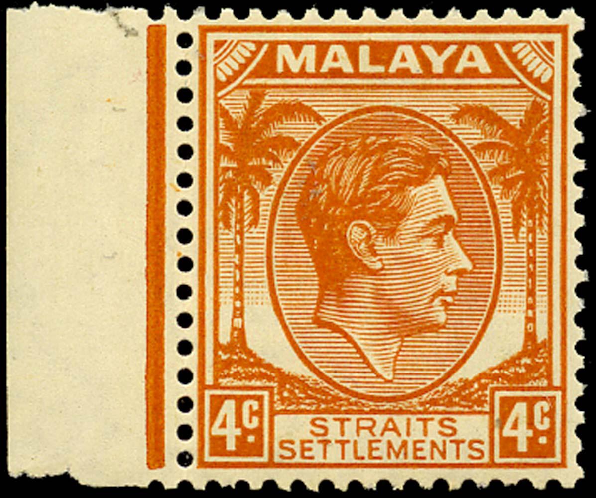MALAYA - STRAITS 1938  SG296 Mint 4c orange Die II unmounted