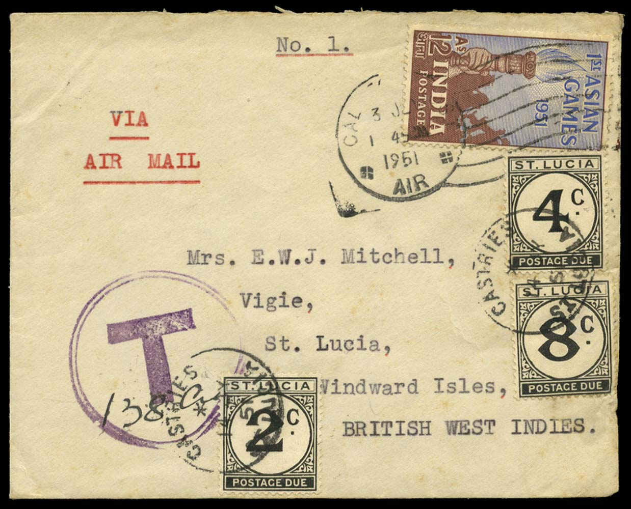 ST LUCIA 1951  SGD7/9 Cover